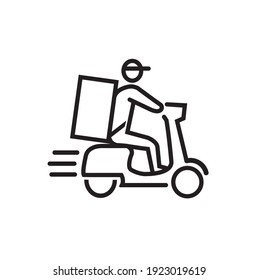 Shipping fast delivery man riding motorcycle, icon, symbol.