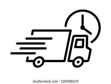 Shipping fast delivery truck with clock icon symbol, Pictogram flat outline design for apps and websites, Isolated on white background, Vector illustration