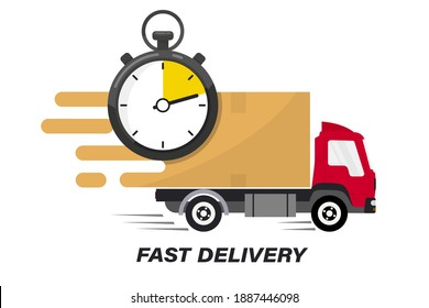 Shipping fast delivery truck with clock. Online delivery service. Express delivery, quick move. Fast shipping truck for apps and websites. Line cargo van moving fast. Chronometer, fast service 24 7
