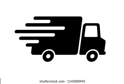 Shipping fast delivery truck icon symbol, Pictogram flat design for apps and websites, Isolated on white background, Vector illustration