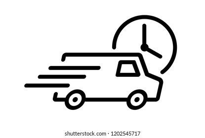 Shipping fast delivery van with clock icon symbol, Pictogram flat outline design for apps and websites, Isolated on white background, Vector illustration