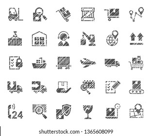 Shipping, flat badges, pencil hatching, monochrome, vector. Cargo transportation and delivery of goods. Gray icons on white background. Imitation of pencil hatching.  Vector clip art.