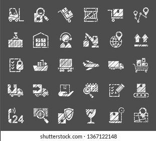 Shipping, flat badges, pencil hatching, white, vector. Cargo transportation and delivery of goods. White icons on grey background. Imitation of pencil hatching.  Vector clip art.