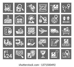 Shipping, flat badges, pencil hatching, gray, vector. Cargo transportation and delivery of goods. White icons on grey background. Imitation of pencil hatching.  Square vector images.