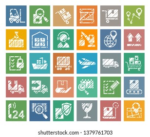 Shipping, flat badges, pencil hatching, colored, vector. Cargo transportation and delivery of goods. White icons on a colored background. Imitation of pencil hatching.  Square vector images.