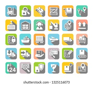 Shipping, flat icons, colored, gray shadow, vector. Cargo transportation and delivery of goods. White flat icons on a colored background with gray shadow. Vector clip art.