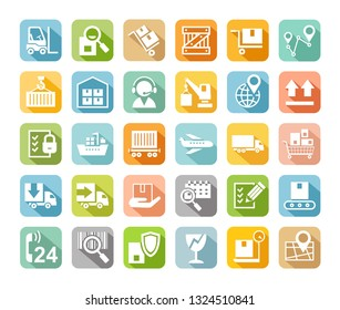 Shipping, flat icons, colored, vector. Cargo transportation and delivery of goods. White flat icons on colored background with shadow. Vector clip art.
