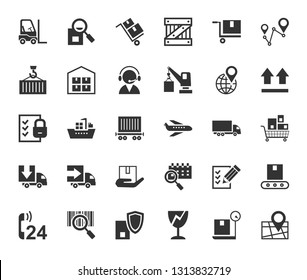 Shipping, flat icons, monochrome, vector. Transportation and delivery of goods. Gray flat icons on white background. Vector clip art.