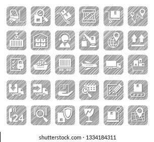 Shipping, flat icons, pencil hatching, vector. Cargo transportation and delivery of goods. White flat icons on a grey shaded background. Vector clip art. Simulation of shading.