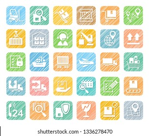 Shipping, flat icons, pencil hatching, colored, vector. Cargo transportation and delivery of goods. White flat icons on a colored shaded background. Simulation of shading. Vector clip art.