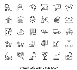 Shipping, flat icons, thin lines, monochrome, vector. Cargo transportation and delivery of goods. Gray outline icons on white background. Vector clip art.