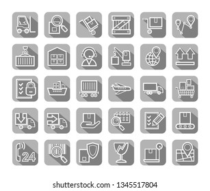 Shipping, flat icons with thin lines, vector. Cargo transportation and delivery of goods. White outline icons on grey background with shadow. Vector clip art.