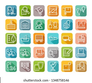 Shipping, flat icons, thin lines, colored, vector. Cargo transportation and delivery of goods. White outline icons on a colored background with a shadow. Vector clip art.