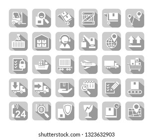 Shipping, flat icons, vector. Cargo transportation and delivery of goods. White flat icons on grey background with shadow. Vector clip art.