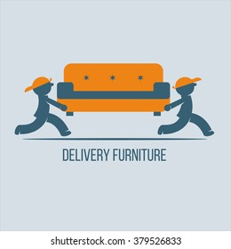 Shipping furniture. Vector logo, sign. Movers carry a couch.