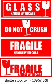 Shipping Handle with care, Fragile and Glass stickers
