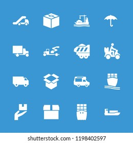 Shipping icon. collection of 16 shipping filled icons such as ship, parcel, van, keep dry cargo, box, cargo ship. editable shipping icons for web and mobile.