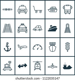 Shipping icons set with ship hook, helicopter, railway and other ship elements. Isolated vector illustration shipping icons.
