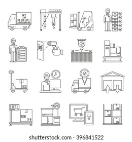 shipping icons, supply chain management icons outline theme