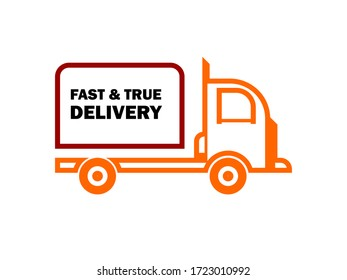 shipping illustration logo with a box car symbol