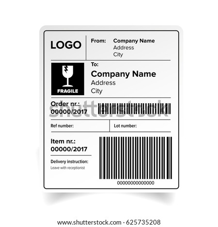 shipping label barcode template vector のベクター画像素材