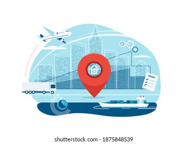 Shipping, logistic supply chain vector illustration. Export, import concept isolated on white background with city buildings, map pointer and plane, truck, cargo boat delivery symbols.