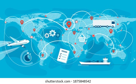 Shipping, logistic supply chain vector illustration. Export, import concept background with global earth map, pointers and connections. Plane, truck, cargo boat delivery symbols.