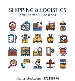 Shipping & logistics : Filled outline icons , pictogram and symbol collection