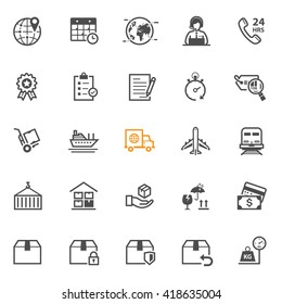 Shipping and Logistics icons with White Background