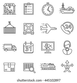 Shipping and Logistics line icons set. Vector illustration.