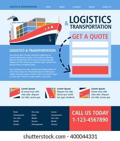 Shipping / Logistics / Transportation - Landing page flat UI design - vector template