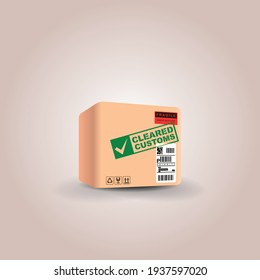shipping package with green stamp  cleared customs. import-export international shipment passed verification. vector illustration