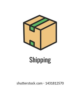 Shipping & Receiving Icon Set with Boxes, Warehouse, checklist, etc