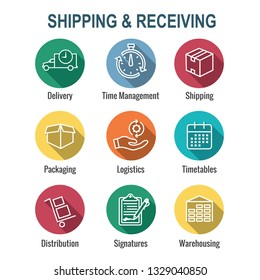 Shipping and Receiving Icon Set w Boxes, Warehouse, checklist, etc