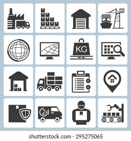 shipping service and supply chain icons