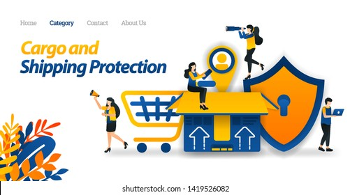 Shipping Services Protect All Types of Packages and Cargo with Maximum Security Up to the Customers' Tagging. Vector Illustration, Flat Icon Style Suitable for Web Landing Page, Banner, Flyer, Sticker