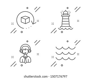 Shipping support, Return package and Lighthouse line icons set. Waves sign. Delivery manager, Exchange goods, Searchlight tower. Water wave. Transportation set. Vector