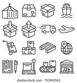 Shipping vector icons for logistic company. Parcel delivery service icon set