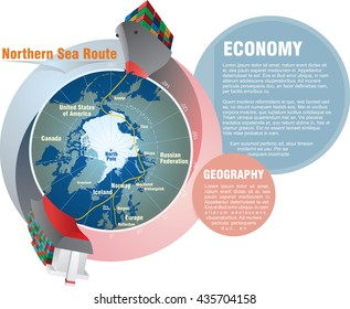 Shipping worldwide. Northern Sea Route from East to West infographic design. Vector illustration
