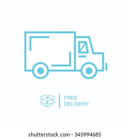 Shipping/delivery truck outline flat icon on white background