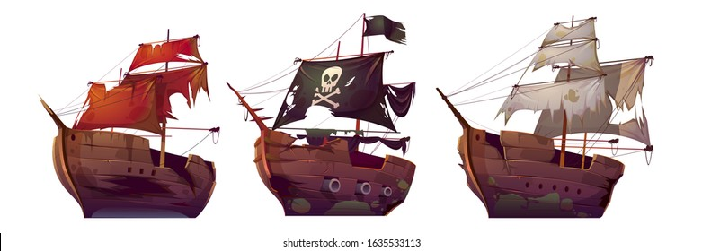 Ships after shipwreck, old broken sail boats. Vector cartoon abandoned or sunken galleon, pirate vessel with black flag and skull after sea battle isolated on white background