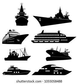 Ships and boats icons. Barge, cruise ship, shipping and fishing boat vector signs. Black silhouette of marine vehicles illustration
