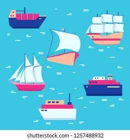 Ships and boats icons collection in flat style
