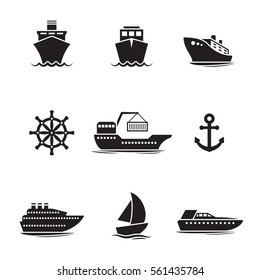 Ships, boats icons set. Black on a white background