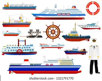 Ships and boats icons set. Various naval vessels and objects collection, isolated on white, vector.