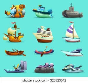 Ships and boats realistic icons set with motorboat submarine and yacht on blue background isolated vector illustration