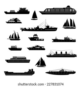 Ships and boats steamboat yacht and tanker freight industry decorative icons black and white set isolated vector illustration