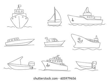 ships and boats thin line icons hand drawn vector set art illustration