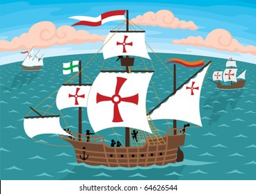 The ships of Christopher Columbus on their way to America. Remove the crosses and you will get three ordinary sail ships.
