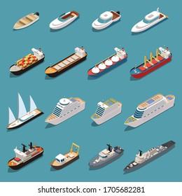 Ships isometric set with icebreaker speedboat cruise liner bulk carrier sail yacht oil tanker warship vector illustration